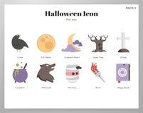 Paquet plat d'icônes de Halloween illustration libre de droits