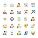 Paquet plat d'icônes de ressources humaines Images stock