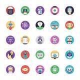 Paquet plat d'icônes de vecteur d'intelligence artificielle illustration stock