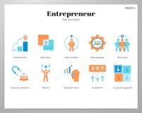 Paquet plat d'icônes d'entrepreneur illustration stock