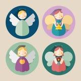 Paquet plat d'icône d'ange de Noël avec la longue ombre Images stock