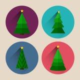 Paquet plat d'icône d'arbre de Noël avec la longue ombre Images stock