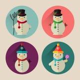 Paquet plat d'icône de bonhomme de neige de Noël avec la longue ombre Photographie stock