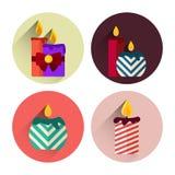 Paquet plat d'icône de bougies de Noël avec la longue ombre Photos stock