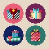 Paquet plat d'icône de cadeau de Noël avec la longue ombre Image stock