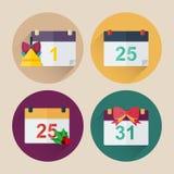 Paquet plat d'icône de calendrier de Noël avec la longue ombre Photographie stock