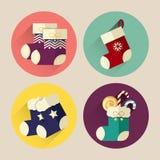 Paquet plat d'icône de chaussette de Noël avec la longue ombre Photos stock