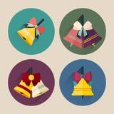 Paquet plat d'icône de cloche de Noël avec la longue ombre Image stock