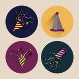 Paquet plat d'icône de confettis de Noël avec la longue ombre Photographie stock libre de droits