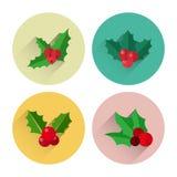 Paquet plat d'icône de Holly Berry de Noël avec la longue ombre Photos libres de droits