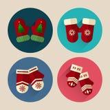Paquet plat d'icône de mitaines de Noël avec la longue ombre Images libres de droits
