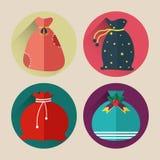 Paquet plat d'icône de sac du père noël de Noël avec la longue ombre Photo stock