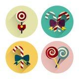 Paquet plat d'icône de sucrerie de Noël avec la longue ombre Images libres de droits