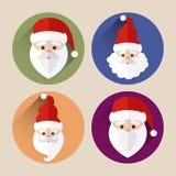 Paquet plat d'icône du père noël de Noël avec la longue ombre Image stock
