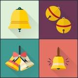 Paquet plat de conception de cloche d'école d'icône Images libres de droits