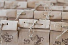 Paquet plié de sac de papier de Brown Image stock