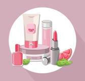 Paquet réglé par cosmétiques d'eco de vecteur Crème d'hydratation et lotion, vernis à ongles, baume à lèvres Perfectionnez pour f Photos stock