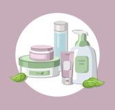 Paquet réglé par cosmétiques organiques de vecteur Crème d'hydratation et lotion, savon liquide, baume à lèvres Perfectionnez pou Images libres de droits