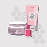 Paquet réglé par cosmétiques organiques de vecteur Crème et lotion de formule de l'eau d'hydratation, nailpolish Perfectionnez po Photo libre de droits