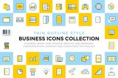 Paquet réglé par icônes de vecteur d'affaires Communication Photographie stock