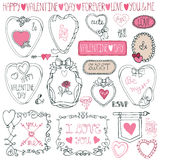 Paquet romantique de cadre Main dessinant Valentine Photo stock