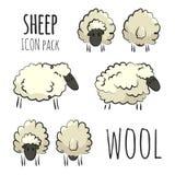 Paquet tiré par la main coloré stylisé d'icône de moutons sur le fond blanc illustration stock