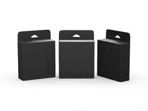 Paquet vide noir de cartouche d'encre de boîte avec le chemin de coupure Images stock