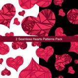 Paquete abstracto inconsútil de dos modelos de los corazones Imágenes de archivo libres de regalías