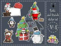 Paquete aislado de la etiqueta engomada, Papá Noel y vector de los amigos 4 stock de ilustración