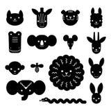 Paquete animal de las cabezas de la historieta Concepto moderno de diseño plano para las tarjetas de los niños, las banderas y la ilustración del vector