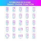 25 paquete azul y rosado del icono de las funciones del teléfono de Futuro Smart ilustración del vector