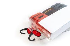 Paquete claro o transparente de la caja de ropa interior masculina para la venta con la etiqueta en blanco blanca para el texto fotografía de archivo