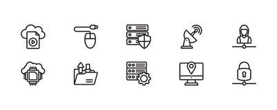 Paquete computacional del icono de la red y de la nube libre illustration