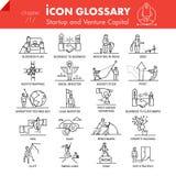 Paquete de alta calidad de los iconos del esquema de negocio de lanzamiento y de capital de riesgo  stock de ilustración