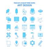 Paquete de Art Design Blue Tone Icon - 25 sistemas del icono stock de ilustración