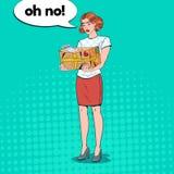 Paquete de Art Disappointed Woman Holding Damaged del estallido ilustración del vector