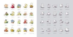 Paquete de etiquetas o de etiquetas con los diversos tipos de té - negro, verde, rooibos, masala, compañero, puer Colección de ma ilustración del vector