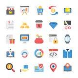 Paquete de iconos planos de las compras y del comercio electrónico stock de ilustración