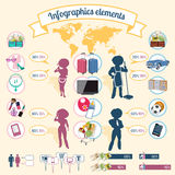La igualdad de los elementos de Infographics, recompensa y hace Ilustración del Vector