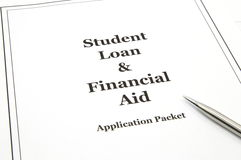 Paquete de la aplicación del préstamo y de ayuda económica del estudiante Foto de archivo libre de regalías