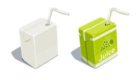 Paquete de la cartulina con el espacio en blanco del tubo para el jugo de uvas stock de ilustración
