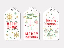 Paquete de la etiqueta de la Navidad de Elegante en blanco ilustración del vector