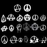 Paquete de la insignia de la paz de la anarquía del símbolo Imagen de archivo libre de regalías