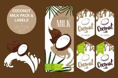 paquete de la leche de coco con las hojas de palma, etiquetas orgánicas de las etiquetas Etiquetas engomadas tropicales coloridas ilustración del vector