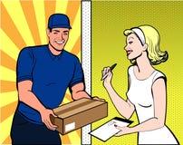 Paquete de la muchacha y del mensajero imagen de archivo libre de regalías