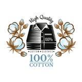 Paquete de la silueta de camisas en medio del modelo de las plantas de algodón del color Logotipo para la materia textil, la tela ilustración del vector