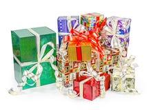 Paquete de las cajas de regalo con los arcos Imagen de archivo libre de regalías