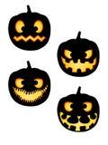 Paquete de las siluetas de la calabaza de Halloween Fotos de archivo libres de regalías