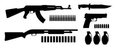 Paquete de las siluetas de los recursos del juego del arma Fotos de archivo