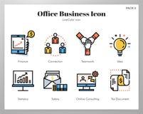 Paquete de LineColor de los iconos del negocio de la oficina libre illustration